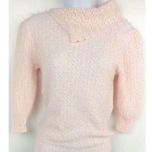 VTG 60s 70s Lace Knit Sweater Pink & Ivory Crochet